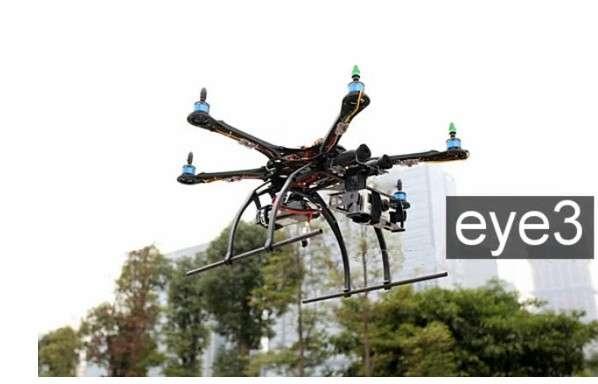 Le drone Eye3 est équipé de six rotors et d'un système de stabilisation automatique. Il peut emporter tout type d'appareil photo. © Eye3