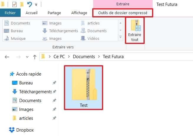 Rendez-vous dans l'onglet « Outils de dossier compressé », puis cliquez sur « Extraire tout ». © Microsoft