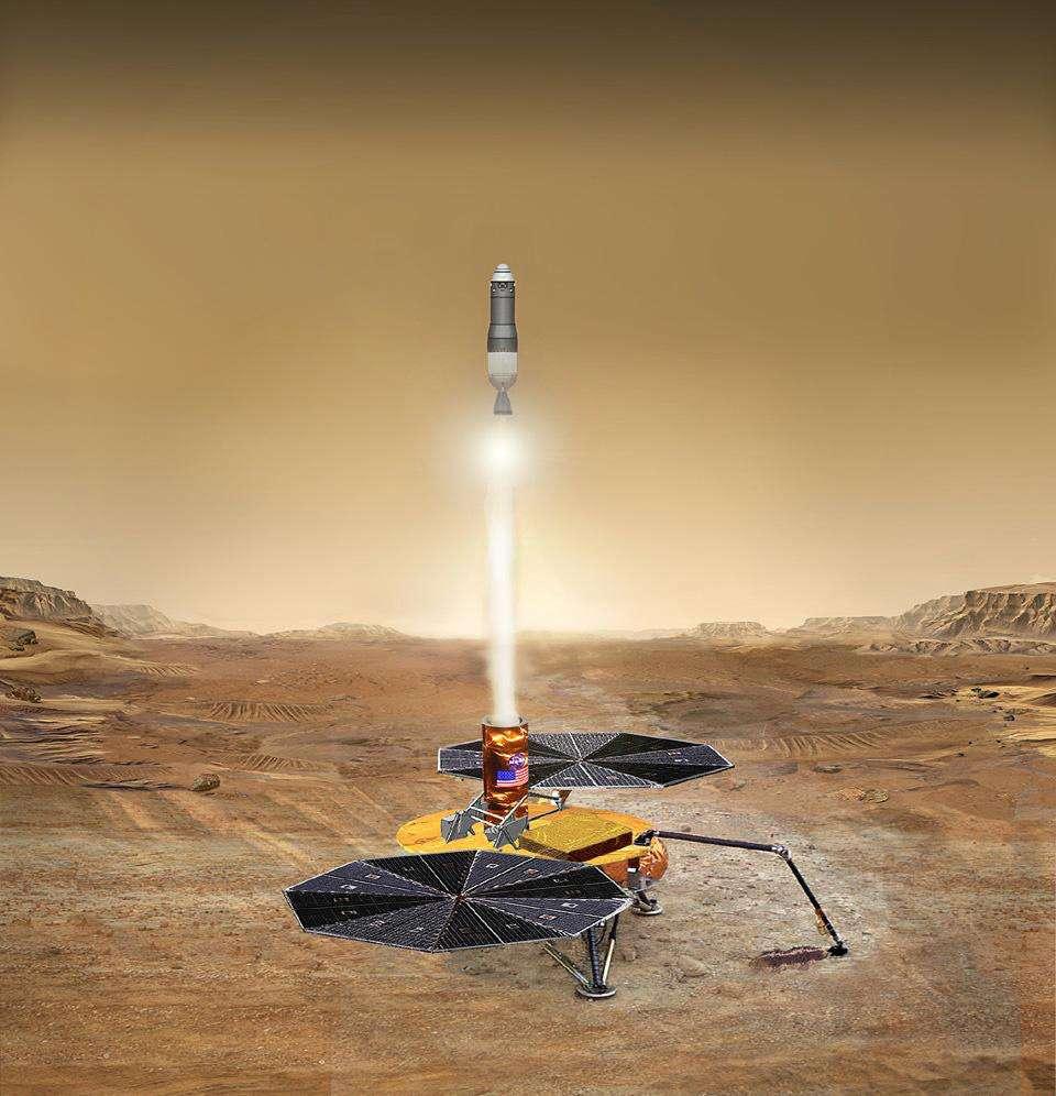 Le MAV (Mars Ascent Vehicle) qui, en 2028, emportera en orbite les échantillons martiens prélevés en 2020. © Nasa, JPL
