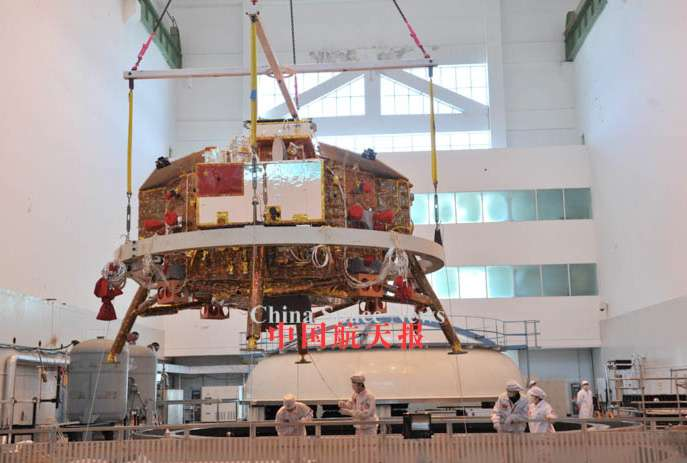 L'atterrisseur de la mission Chang'e 3 surprend par sa taille. Il préfigure peut-être quelque chose de plus audacieux pour les missions suivantes Chang'e 4 & 5. © CNSA