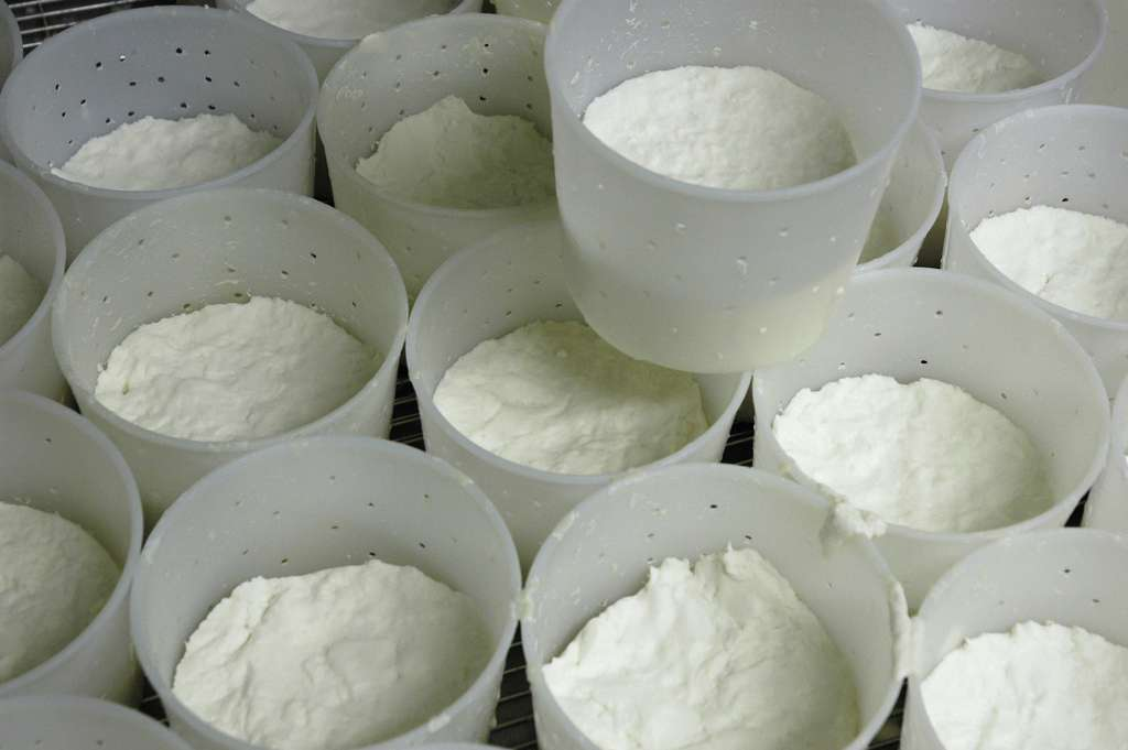 Le fromage doit être bien égoutté au travers d'une grille ou des moules percés. © P.Bourgault, CNIEL