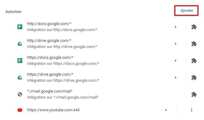 Cliquez sur « Ajouter » dans la section « Autoriser ». © Google Inc.