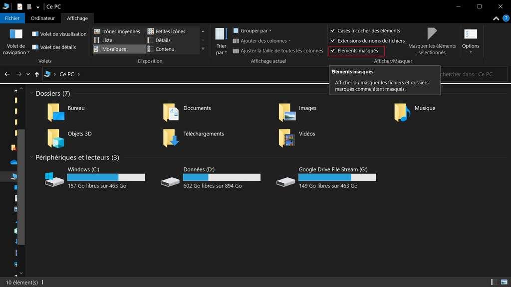 On coche la case «Éléments masqués» pour les afficher dans l'explorateur de fichiers. © Microsoft