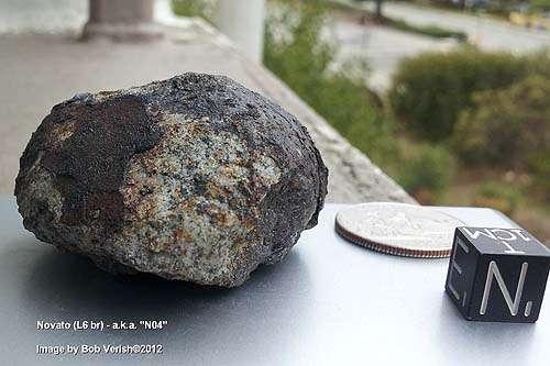 Fragment de la météorite de Novato retrouvé par Bob Verish. © B. Verish, Seti