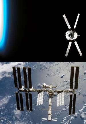 L'ATV, ici Jules Verne, premier du genre, amarré à la partie russe de la Station, pèse 20 tonnes. Sa capacité d'emport est supérieure à 7 tonnes de charge nette. Le contenu de la charge utile peut varier d'une mission à l'autre : de 1,5 à 5,5 tonnes de fret et de vivres, jusqu'à 840 kg d'eau potable, 100 kg de gaz (air, oxygène et azote), 4 tonnes d'ergols pour la correction d'orbite et jusqu'à 860 kg de carburant destiné aux réservoirs de l'ISS. © Nasa