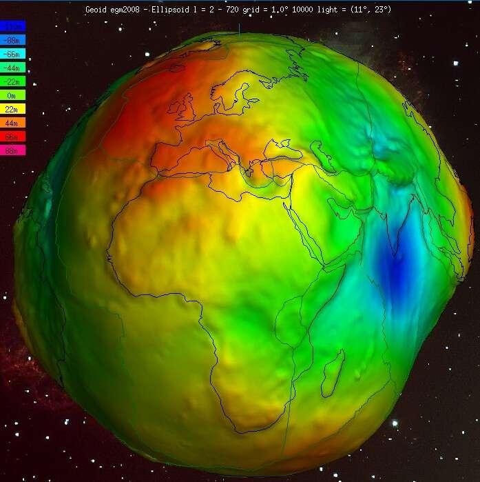 Sur cette image de la Terre, où le relief a bien sûr été fortement exagéré, on peut voir les creux (de -11 m à 0 m, couleurs froides) et bosses (de 22 m à 88 m, en couleurs chaudes) du géoïde par rapport à un ellipsoïde de référence. On observe une bosse sur l'Atlantique nord et un creux important au sud de l'Inde. © Wolfgang Köhler, ICGEM