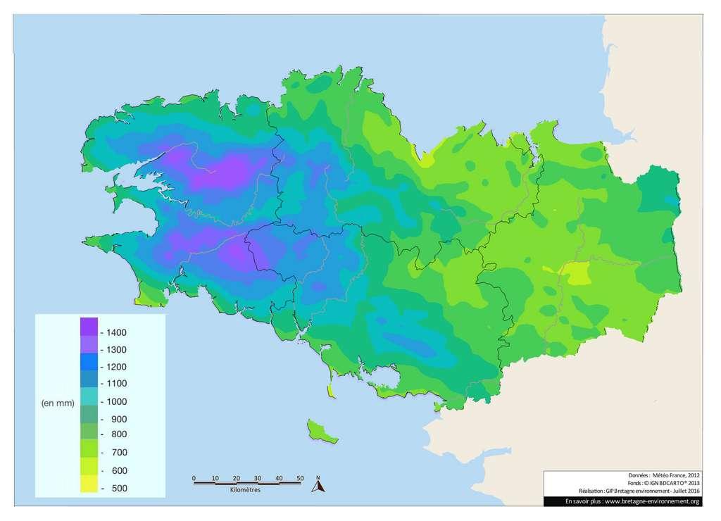 Pluviométrie moyenne annuelle en Bretagne. © Météo France