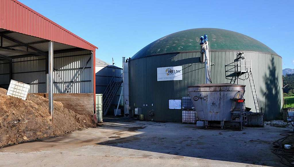 Site de production de biogaz par méthanisation à partir des déchets agricoles, développé par la Swiss Green Power Cooperative. © myclimate