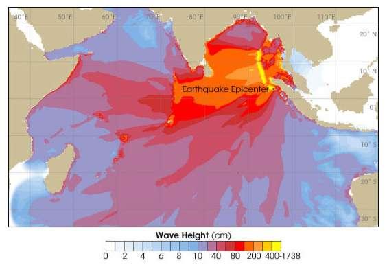 Tsunami : hauteur des vagues
