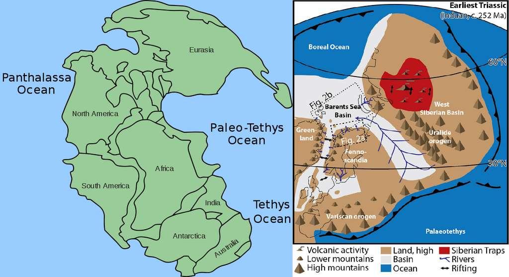 Voici, à gauche, à quoi ressemblait la Pangée au tout début du Trias, entourée par l'océan global Panthalassa. La Paléothétys est l'océan qui séparait autrefois les terres émergées en deux supercontinents, le Gondwana et la Laurussia, et qui s'est refermé durant le Trias supérieur. À droite, un zoom sur le nord de la Pangée, où l'emplacement du delta de la mer de Barents est indiqué. L'océan boréal correspond à la partie nord de Panthalassa. © Kieff, Adrignola, Wikimedia Commons, CC By-SA 3.0, Christian Haug Eide et al., GSA Bulletin, 2017