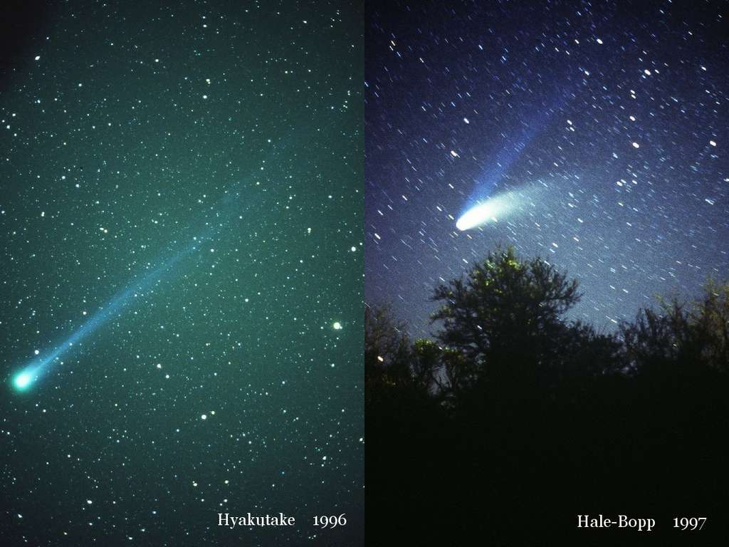 Hyakutake en 1996 et Hale-Bopp en 1997 ont été des comètes beaucoup plus impressionnantes que ce que va nous montrer Elenin. © J.-B. Feldmann