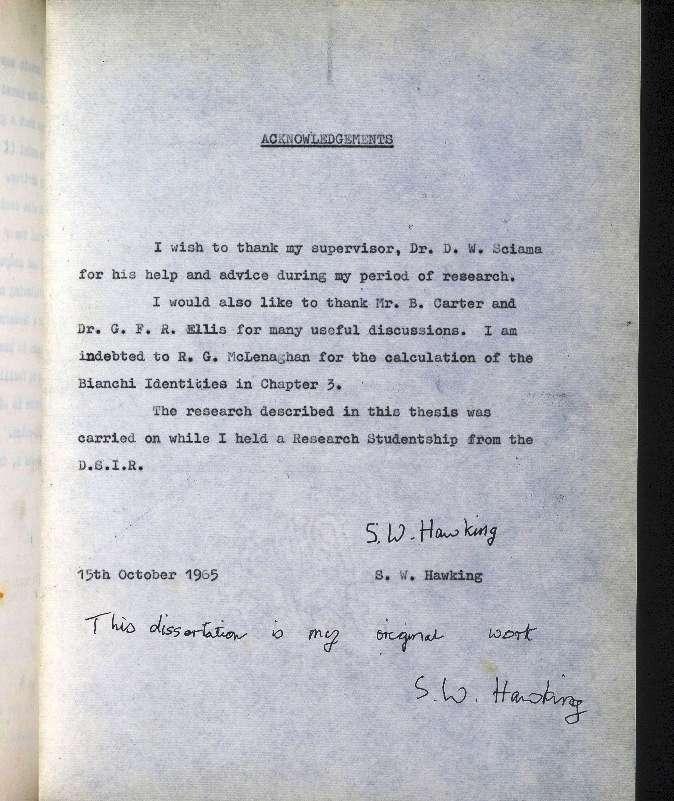 La thèse de Stephen Hawking passée alors qu'il n'avait pas encore 24 ans. © Stephen Hawking