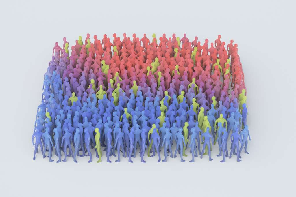 Dans une population déjà en partie immunisée (sujets en vert), l'épidémie ne se propage plus. © Steven, Adobe Stock