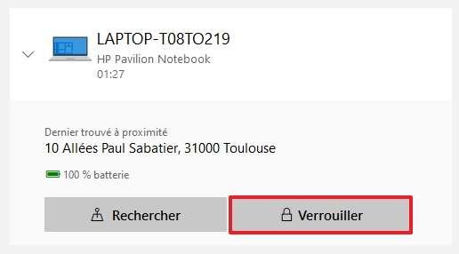 Cliquez sur « Verrouiller » afin de démarrer la procédure de blocage de votre PC. © Microsoft
