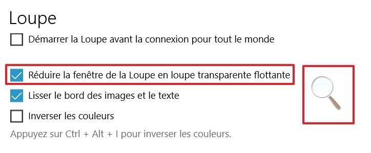 Cochez la case « Réduire la fenêtre de la loupe en loupe transparente flottante ». © Microsoft