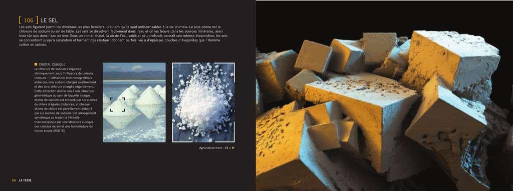 À l'échelle macroscopique, les cristaux de sel apparaissent en une structure cubique. © Giles Sparrow/Dunod