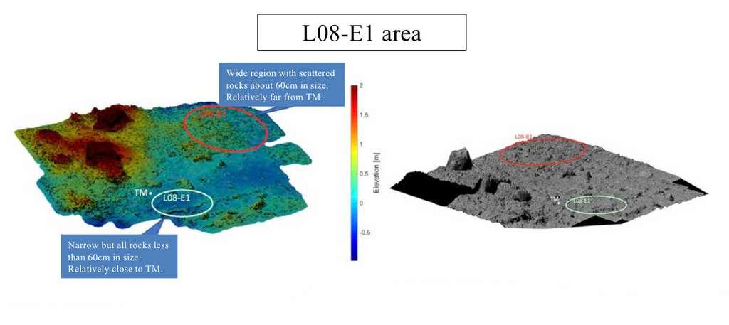 Le premier site de collecte des échantillons de l'astéroïde Ryugu. © Jaxa, Science team