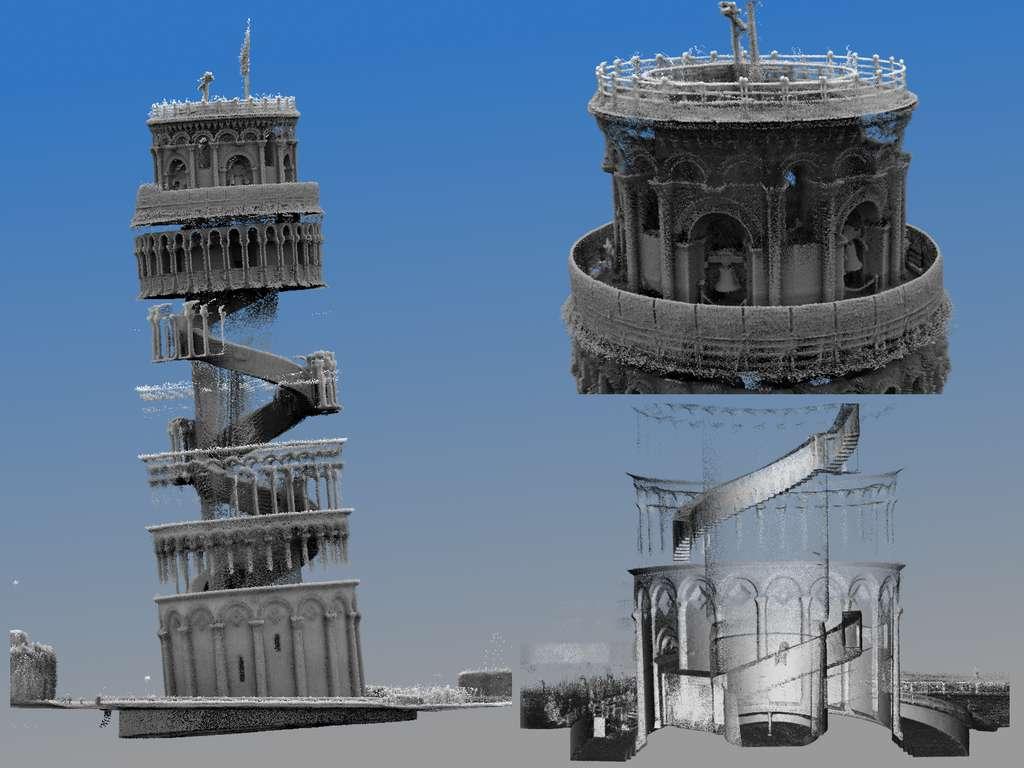 Capture d'écran des nuages de points 3D, créés à partir de l'analyse de la tour penchée de Pise par l'outil Zebedee du CSIRO. © CSIRO