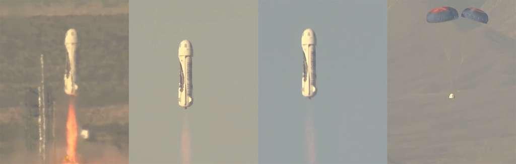 Du décollage à l'atterrissage de la capsule, le premier vol d'essai du New Shepard s'est bien déroulé. Seule déception : le crash de l'étage propulsif que Blue Origin souhaitait récupérer. © Blue Origin