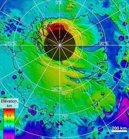 Couches glacées supérieures du pôle sud martien