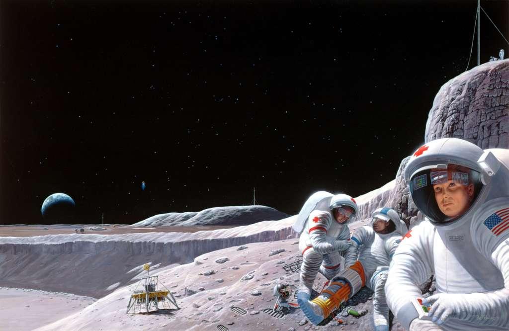 Sur la Lune comme dans l'espace, les astronautes sont soumis aux sautes d'humeur du rayonnement spatial. © Nasa/Johnson Space Center