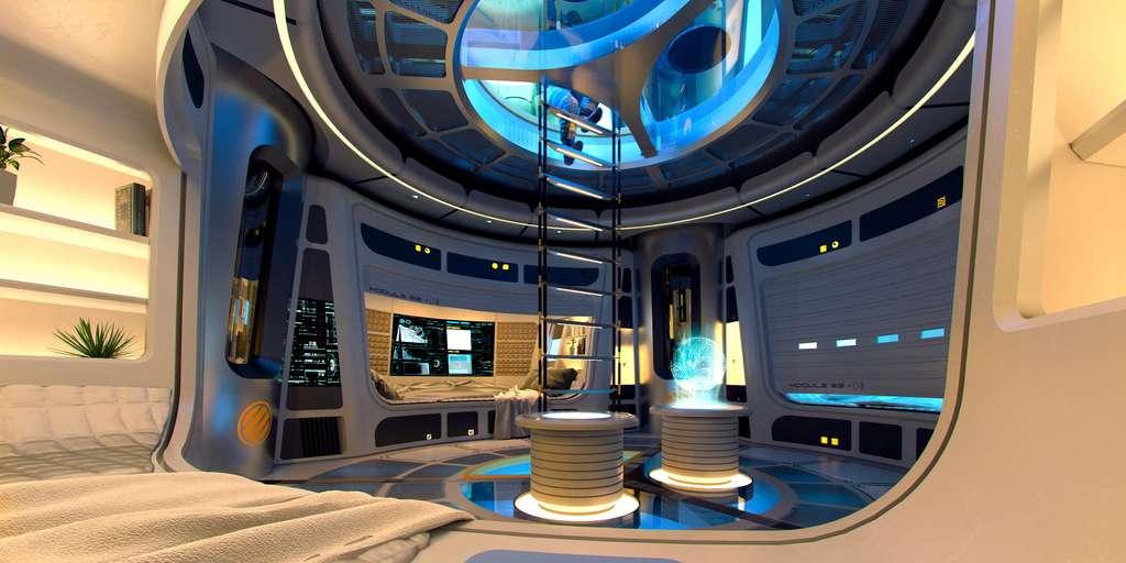 Le quartier des équipages à l'intérieur d'un module gonflable. D'un volume de 390 m3, ce module comprend quatre étages. © SOM