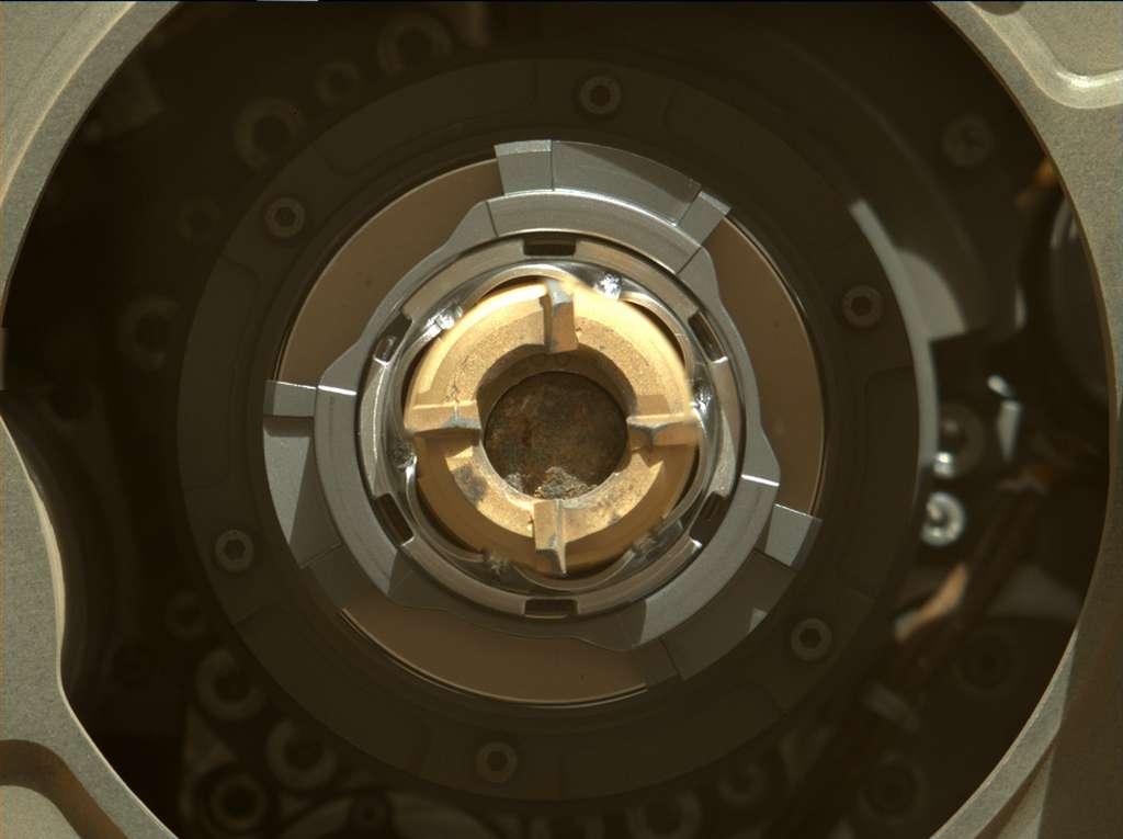La roche prélevée par Perseverance, que l'on peut apercevoir dans le tube d'échantillonnage. © Nasa, JPL/Caltech