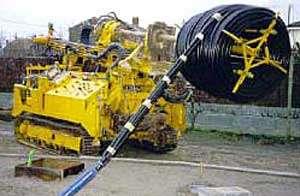 Sonde géothermique prête à être installée dans le forage vertical. © BRGM