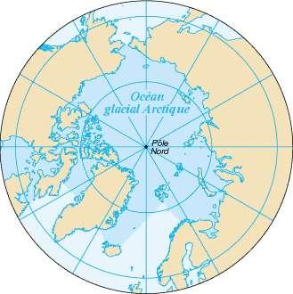 Carte de l'océan Arctique. © Domaine public, Wikimédia Commons