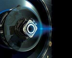 Vue d'artiste du moteur ionique de Smart-1 (Crédits : ESA)