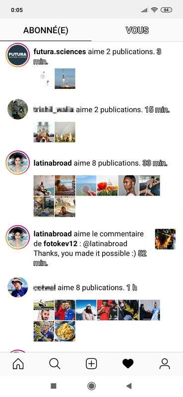 L'activité des pages que vous suivez est détaillée dans la section «abonné(e)». © Instagram