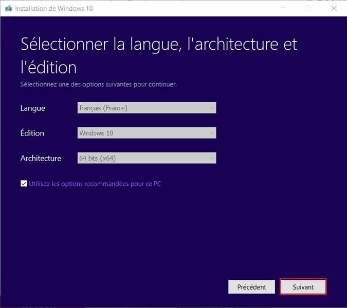 Choisissez la langue, l'édition de Windows ainsi que l'architecture 32/64 bits de votre système d'exploitation. © Microsoft