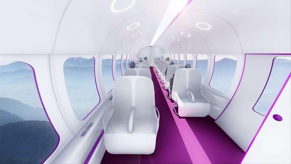 Vue simulée de l'intérieur d'une capsule Hyperloop. © TransPod