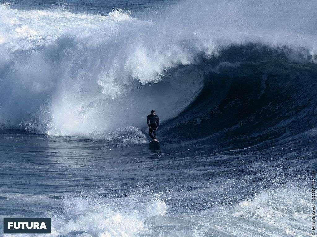 Grosse vague déferle à Santa Cruz - Californie