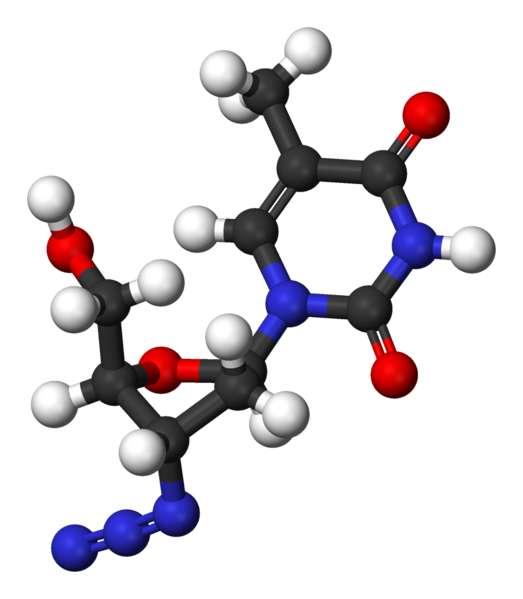 La molécule d'AZT ressemble beaucoup à un nucléotide. Ici, les atomes de carbone sont en noir, l'oxygène en rouge, l'azote en bleu et l'hydrogène en blanc. Crédits DR