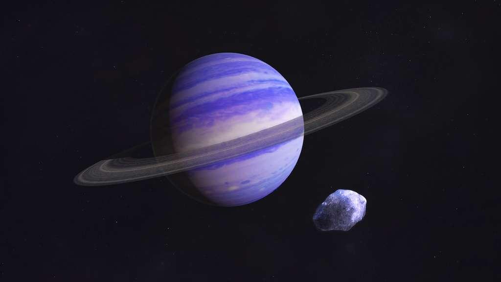 Sur cette vue d'artiste, ce à quoi pourrait ressembler GJ 15 A c, une planète géante gazeuse de type Neptune. © Francis Reddy, NASA's Goddard Space Flight Centers