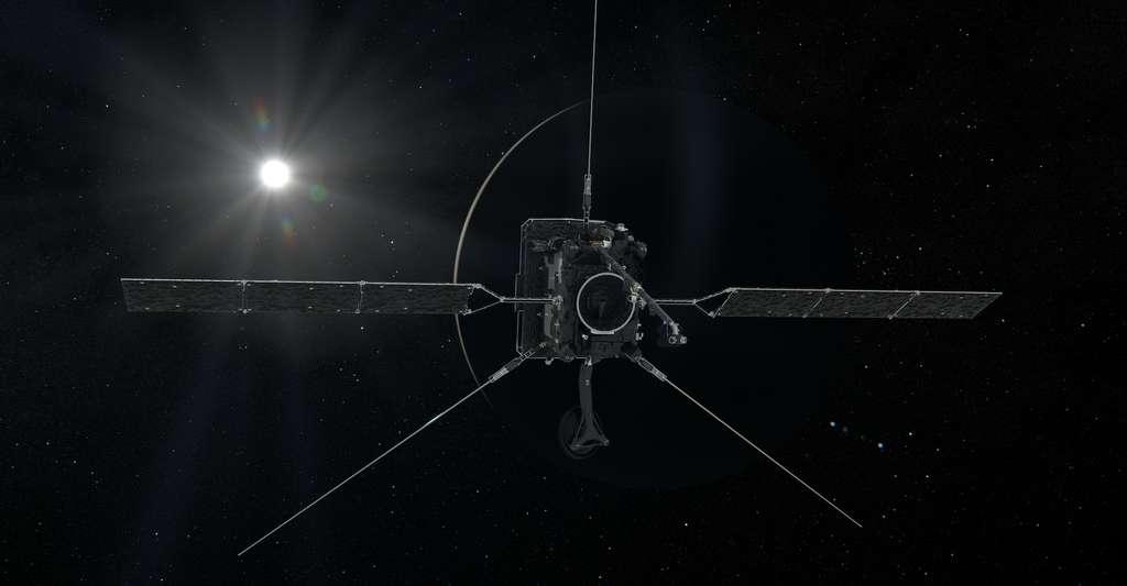 Une vue d'artiste du passage de la sonde Solar Orbiter au-dessus de Vénus, le 9 août 2021. © ESA, ATG medialab
