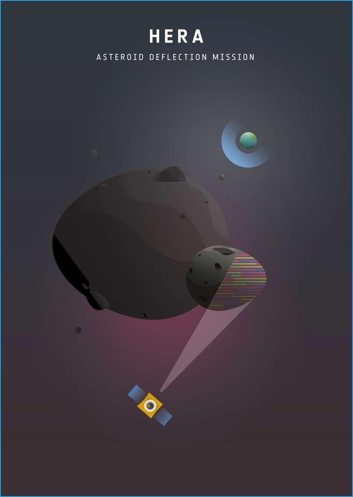 Affiche de l'ESA pour le projet de mission Hera, laquelle devrait se rendre avec la sonde Dart de la Nasa auprès d'un astéroïde binaire au cours de la prochaine décennie. © ESA