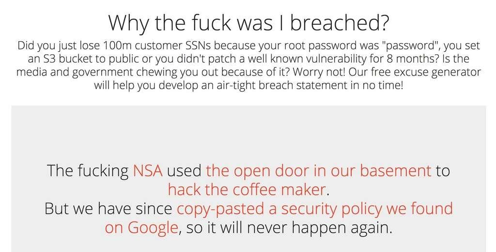 Quand on est victime d'une grave faille de sécurité, autant être inventif dans la réponse apportée à ses abonnés. © Why The Fuck A was Breached