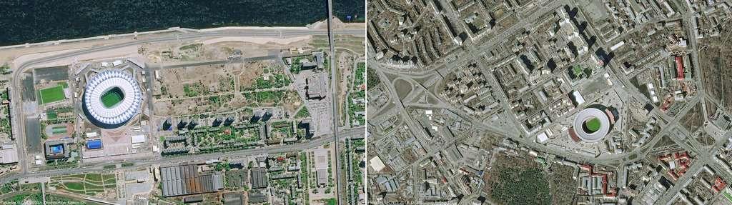À gauche, la ville de Volgograd a également construit un stade pour la coupe du monde qui porte le nom de la ville. À droite, le vieux stade Central de Iekaterinbourg, construit en 1953 qui a la particularité de disposer de deux tribunes massives (et temporaires) à l'extérieur du stade ! © Pléiades © Cnes 2018, Distribution Airbus DS