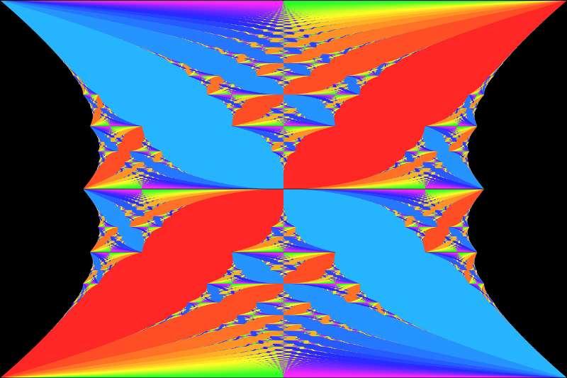 Le Papillon de Hofstadter est une fractale, ici en couleur, représentant le spectre d'un opérateur de Schrödinger de Mathieu quasi périodique. L'axe horizontal représente l'énergie (ou potentiel chimique) et l'axe vertical les valeurs d'un flux magnétique. Les couleurs chaudes et froides représentent des valeurs positives et négatives de ce qu'on appelle la conductance de Hall. Le papillon a été découvert par Douglas Hofstadter dans son article « Les niveaux d'énergie et les fonctions d'onde des électrons de Bloch dans des champs magnétiques rationnels et irrationnels ». © DP, Wikipédia