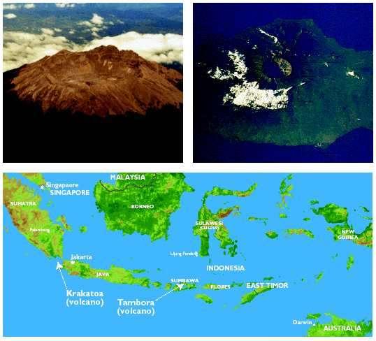 Des images du Tambora et sa localisation en Indonésie sur l'île de Sumbawa. Son éruption en 1815 a provoqué l'année suivante un refroidissement d'environ 1 °C dans l'ensemble de l'hémisphère nord. © Volcanological Survey of Indonesia/Nasa