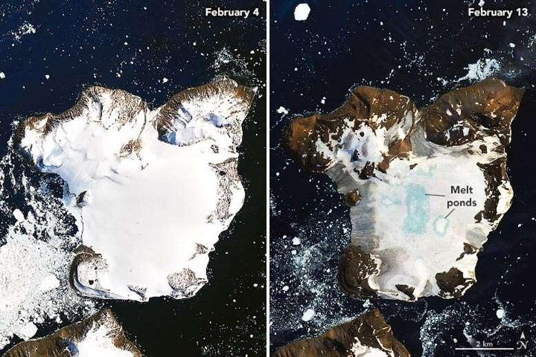 Sur ces images d'Eagle Island, la fonte des glaces apparaît nettement sur les côtes. Plus au centre de l'île, on observe des bassins de fonte (melt ponds). © Nasa