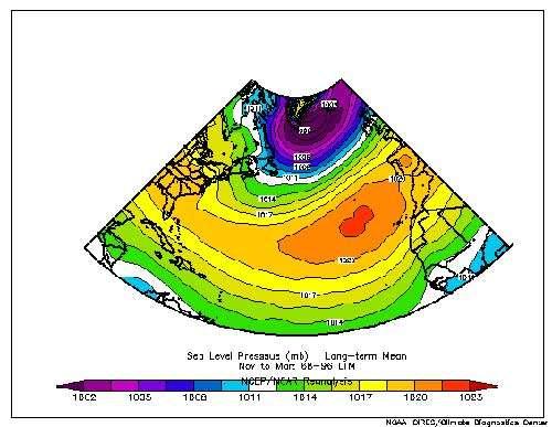 Figure 4 : Le champ de pression atmosphérique moyen au niveau de la mer dans l'Atlantique. En rouge : le centre de l'anticyclone des Açores, en violet le centre dépressionnaire d'Islande.