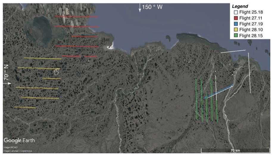 Trajets effectués par avion en août 2013, dans le nord de l'Alaska, utilisés pour mesurer les niveaux de protoxyde d'azote émis par le pergélisol. La surface totale étudiée équivaut à 310 km². © Jordan Wilkerson et al., Atmospheric Chemistry and Physics, 2019