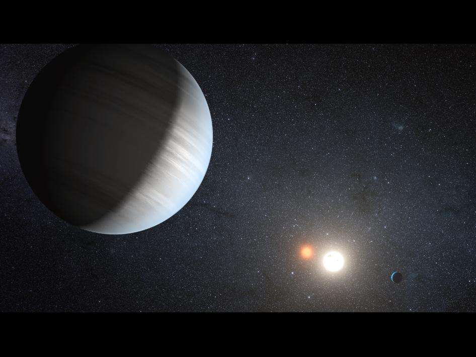 Une représentation d'artiste de l'étoile double Kepler 47 et ses deux exoplanètes. La binaire est constituée par une naine rouge en orbite rapprochée autour d'une étoile de type solaire. © Nasa/JPL-Caltech/T. Pyle
