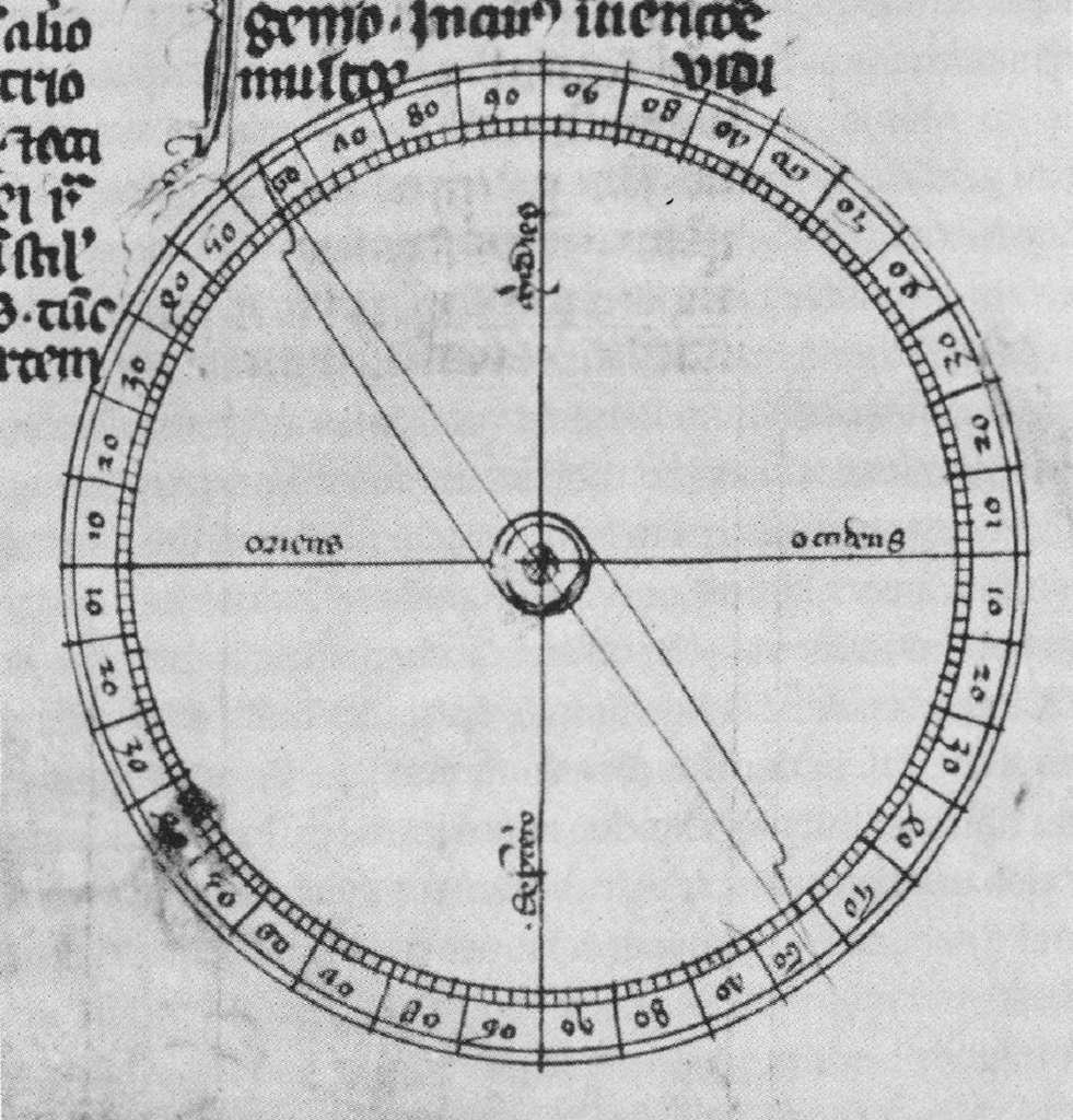 """Compas de Pierre de Maricourt, dans """"Epistola de magnete"""", 1269 (l'est à gauche, le sud en haut, le nord en bas, l'ouest à droite). Bodleian Library, Université d'Oxford, Royaume Uni. © Wikimedia Commons, domaine public."""