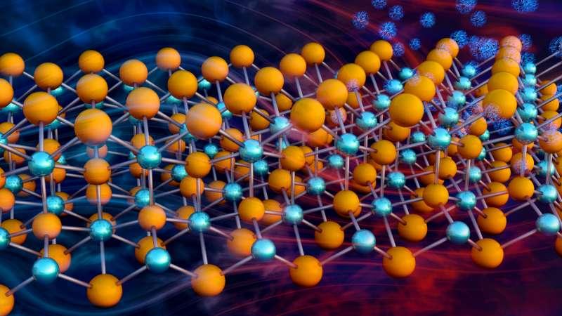 Une représentation de la structure cristalline de l'un des matériaux thermoélectriques étudiés par les chercheurs de l'université Duke et de l'université de l'État du Michigan (États-Unis) : le Mg3Sb2. Les atomes de magnésium (Mg) sont en orange. Les atomes d'antimoine (Sb) sont en bleu. © ORNL, Jill Hemman
