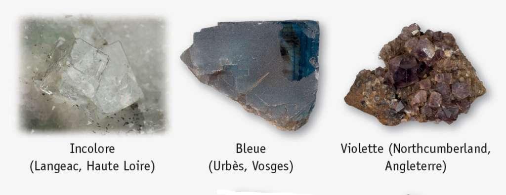 Les minéraux peuvent afficher toutes sortes de couleurs. Certains sont même incolores. © Dunod, DR