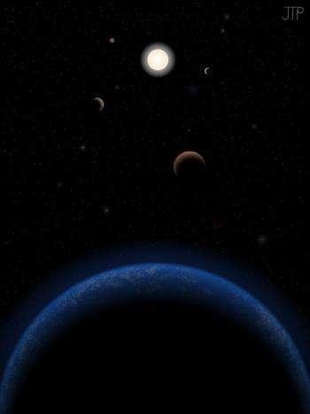 Illustration du système Tau Ceti, situé à 12 années-lumière de la Terre. Il y aurait cinq exoplanètes autour de cette étoile visible à l'œil nu dans la constellation de la Baleine. Les deux superterres présentes dans la zone habitable ne le seraient que depuis moins d'un milliard d'années. © J. Pinfield (RoPACS network at the University of Hertfordshire, 2012)